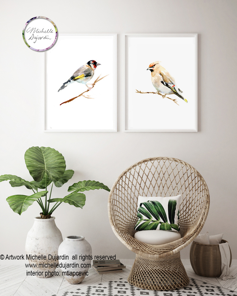 Set of 2 birds based on stamps