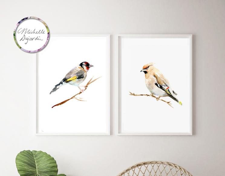 Set van 2 vogel prints naar postzegels