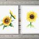 Set van 2 zonnebloem aquarel prints