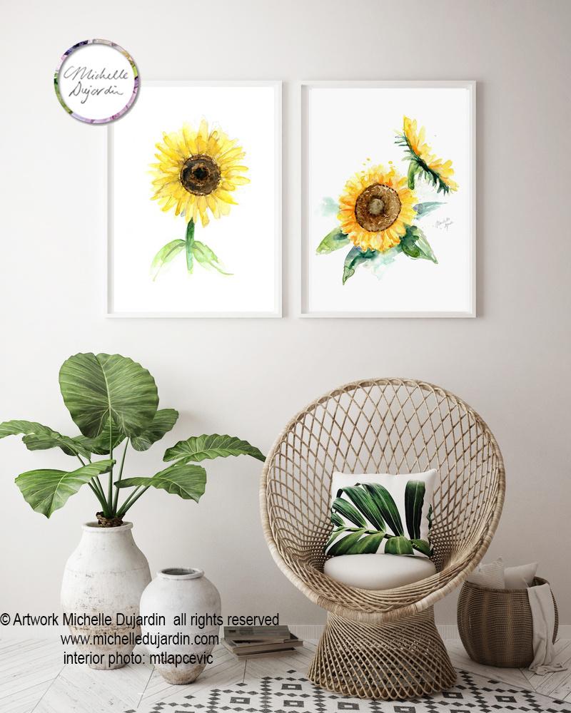 Set of 2 sunflower watercolor prints