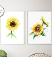 Set van 2 zonnebloem schilderijen