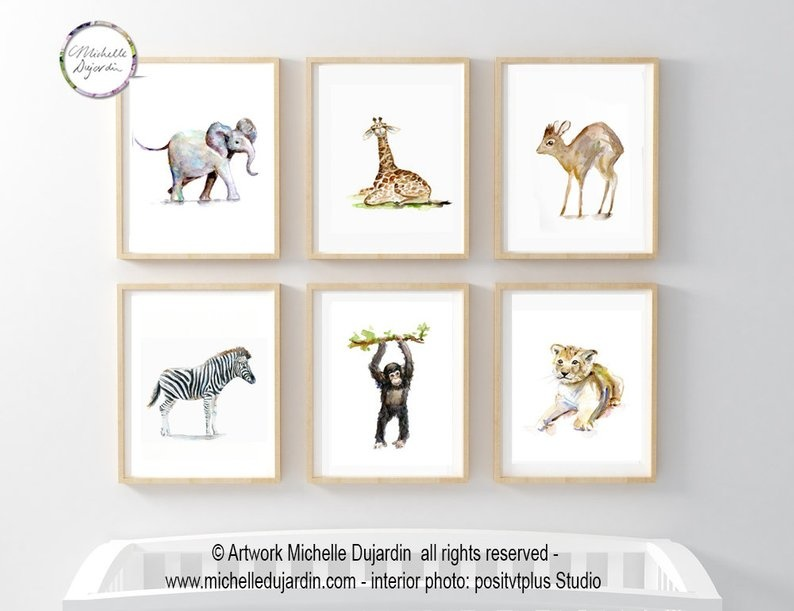 6 prints of African baby animals