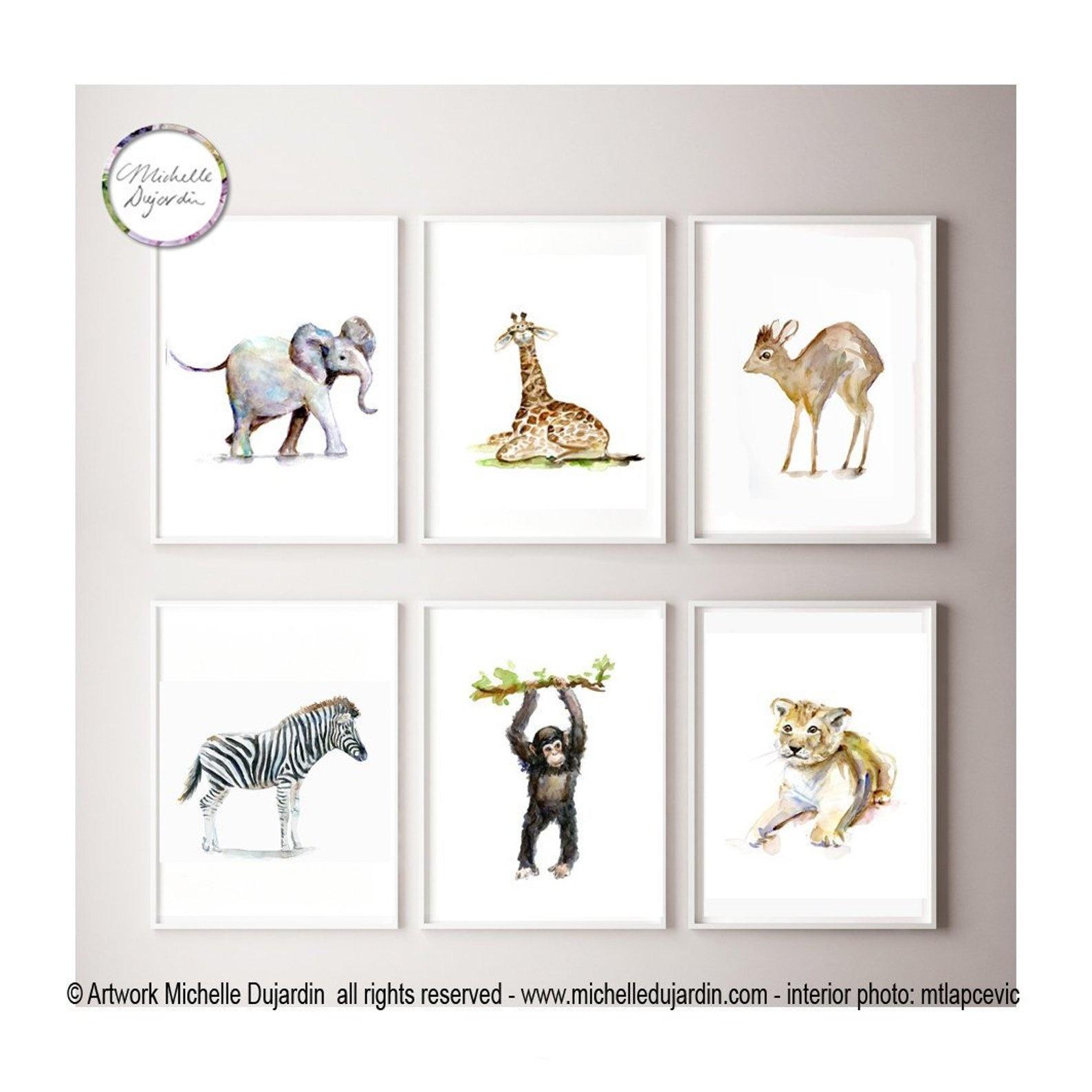 6 prints van Afrikaanse babydieren