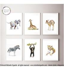 Set of 6 African baby animals