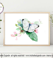 Cabbage white butterly watercolor