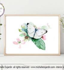 Koolwitje vlinder aquarel