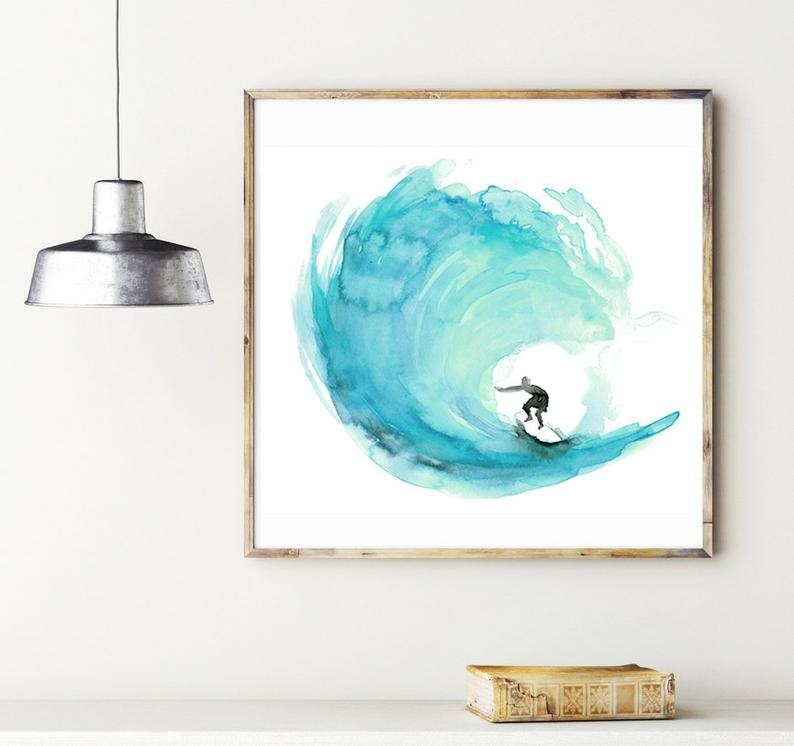 Surfprint aqua groen door Michelle Dujardin