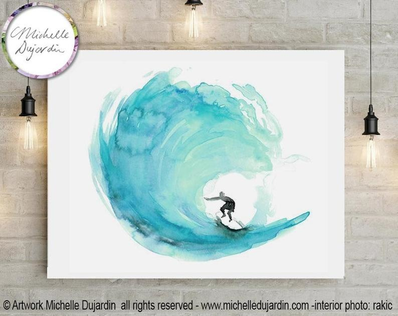 Surf print aqua green watercolor prints by Michelle Dujardin