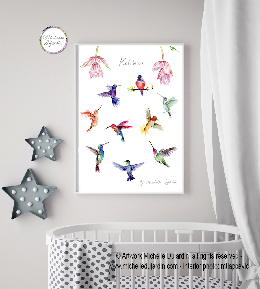 Verschillende kolibries giclee print
