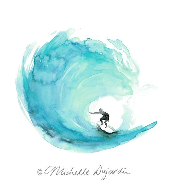 Surf print aqua green watercolor prints by Michelle Dujardin