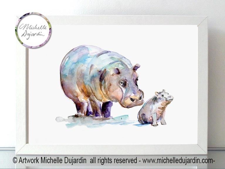 Aquarel schilderij van twee nijlpaarden