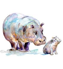 Nijlpaard met jong aquarel
