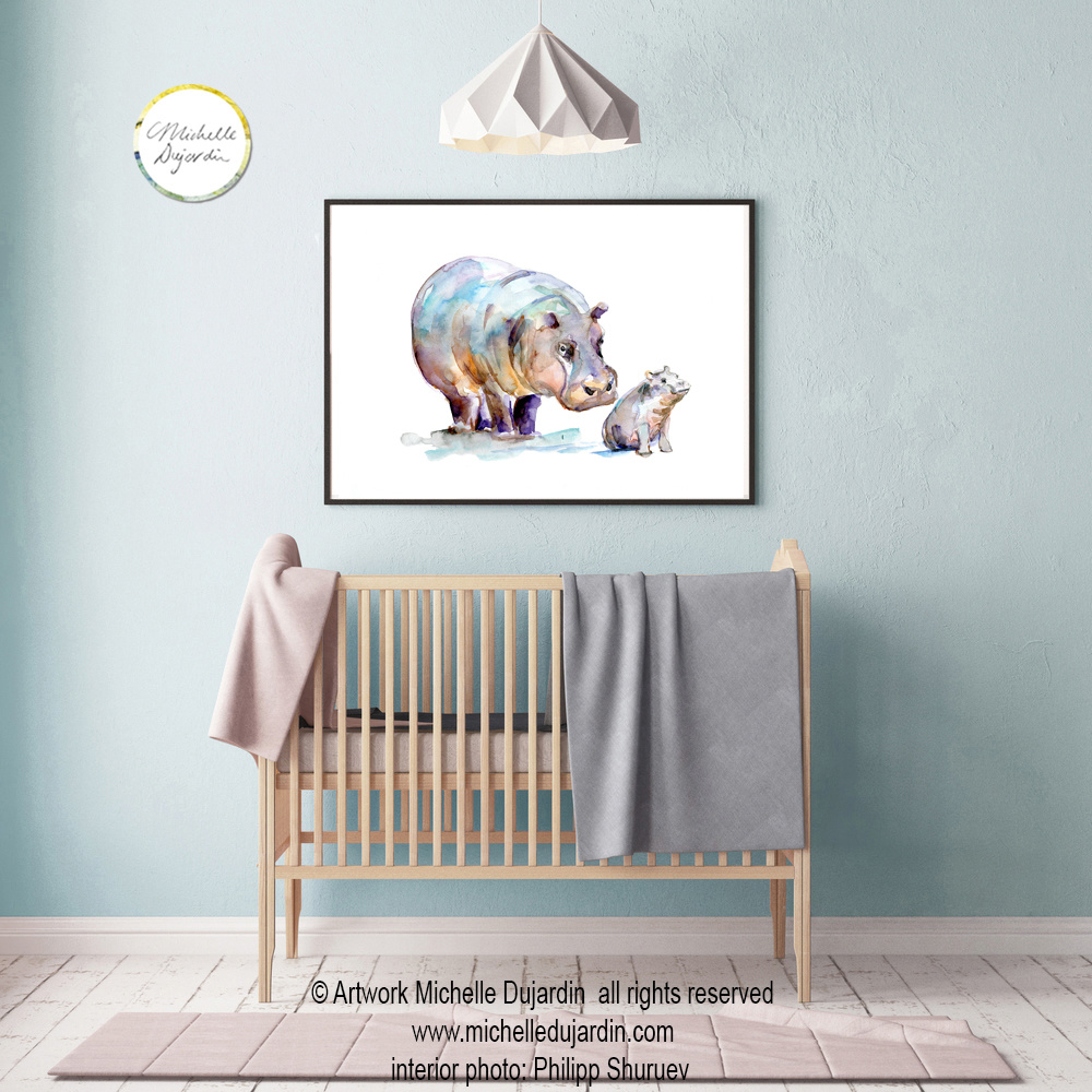 Hippo's watercolor painting