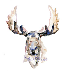 Moose watercolor portrait wall art