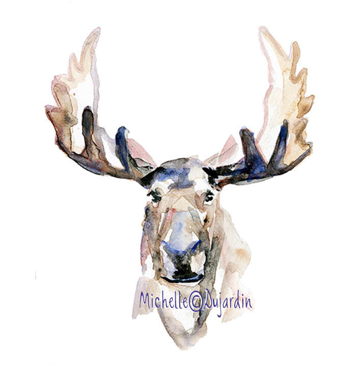 Giclee print van een eland aquarel schilderij