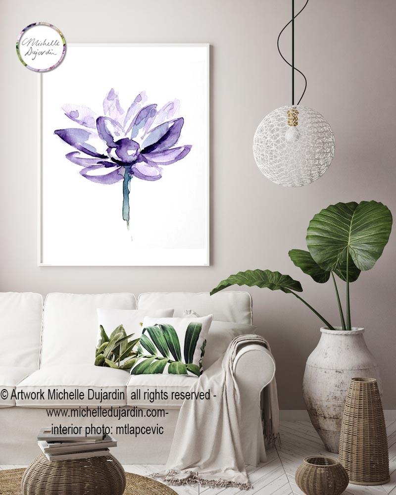 3 prints van lotus bloemen door Michelle Dujardin
