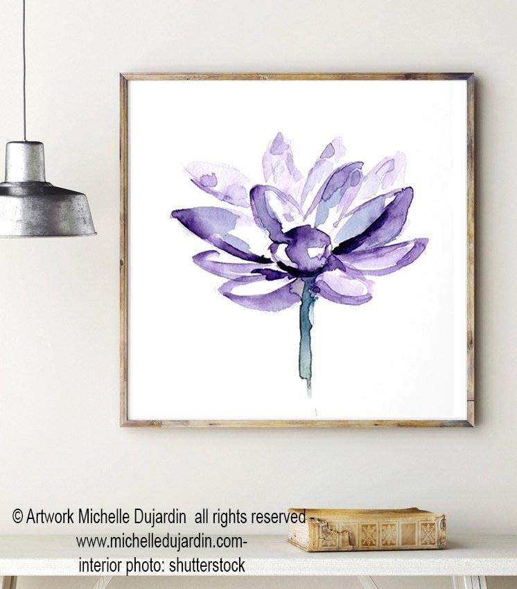 Set of 3 lotus flower watercolor prints by Michelle Dujardin