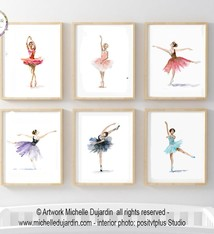 Set of 6 ballet dancer watercolor prints