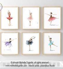 Set van 6 ballerina aquarel prints
