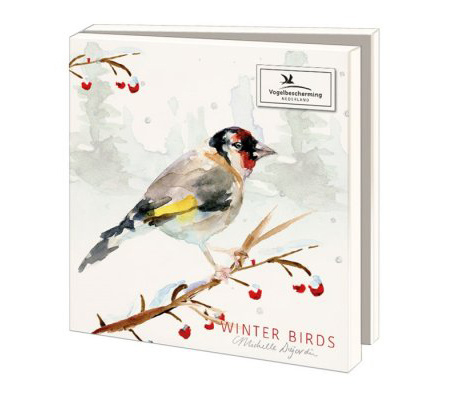 Greeting cards of illustrated Dutch birds in winter - Copy