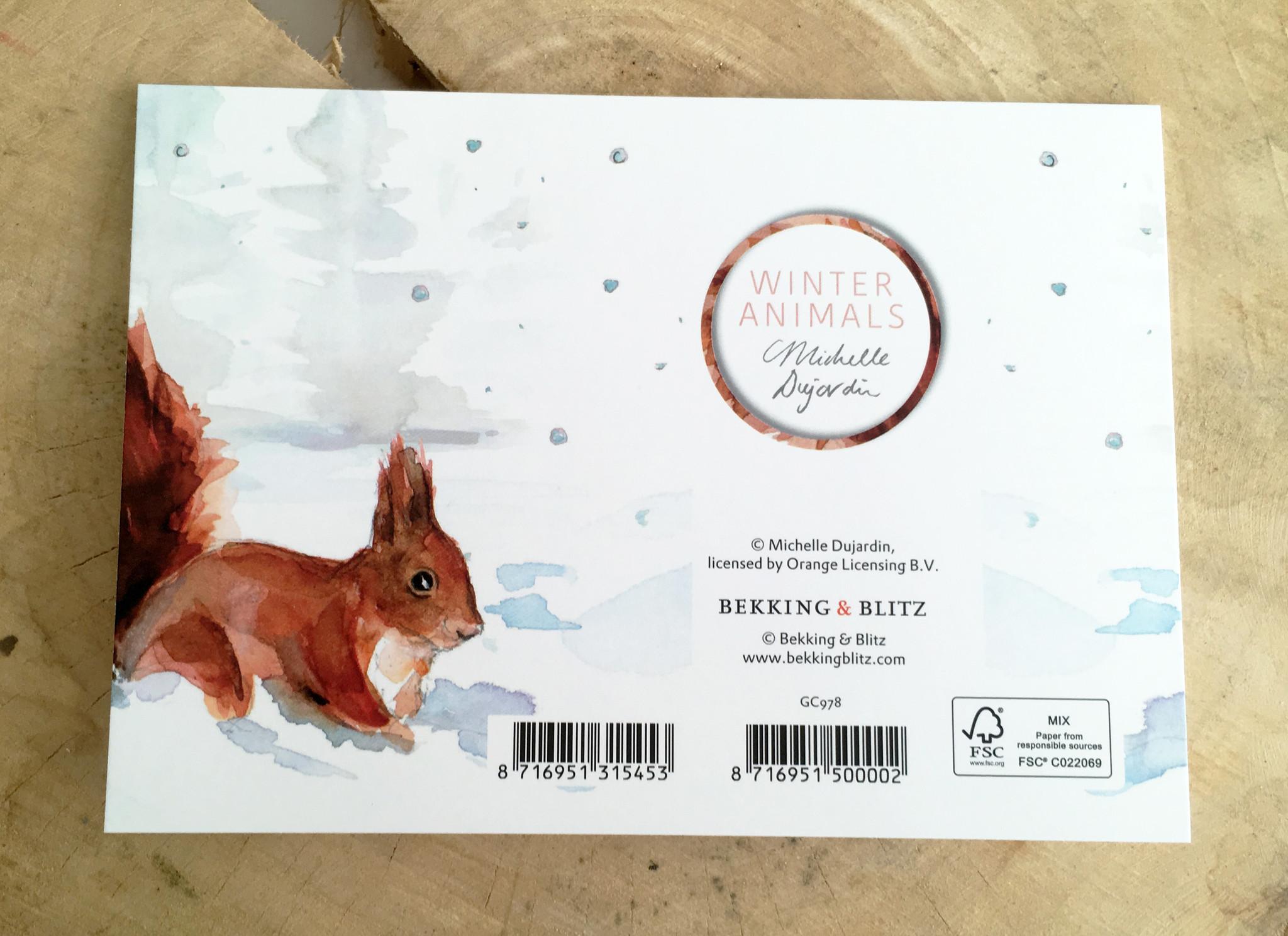 Winter wenskaart (naar keuze) met envelop
