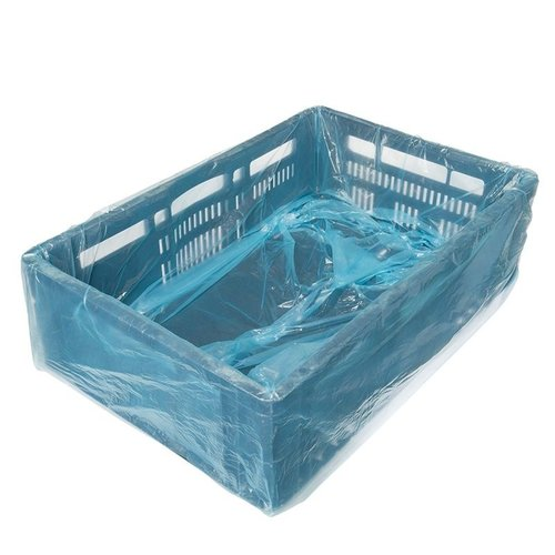 MDPE crate bag 20my blue on pipes size  80/2 x 20 x 70 cm