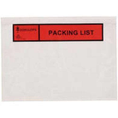 Paklijsten bedrukt C5 ''Packing list''  formaat 225 x 165 mm
