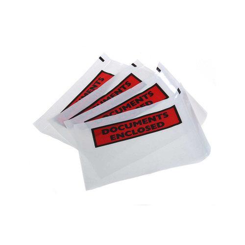 Paklijsten bedrukt C6'' Documents Enclosed'' formaat 165 x 122 mm