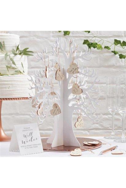 Houten wensboom met houten hartjes