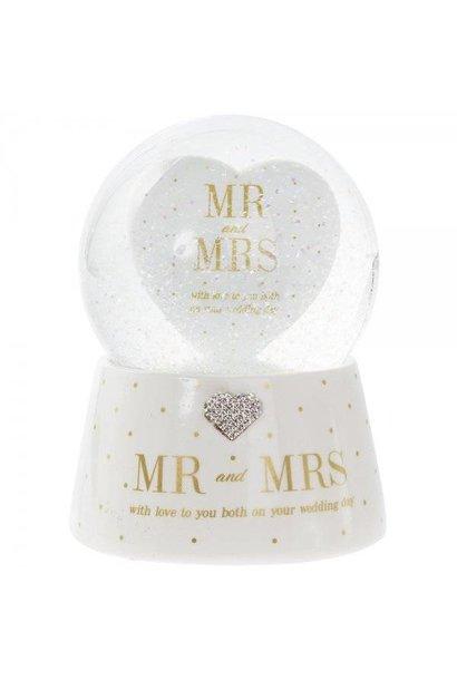 Snowglobe Mr & Mrs met muziek