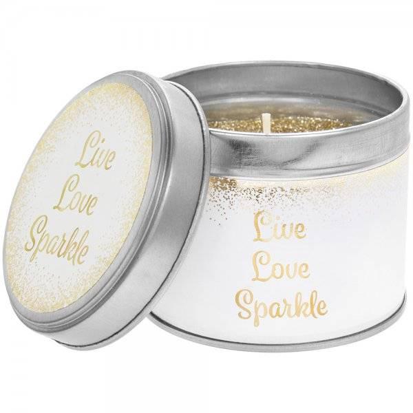 Geurkaars in blik  | 'Live love sparkle'-1
