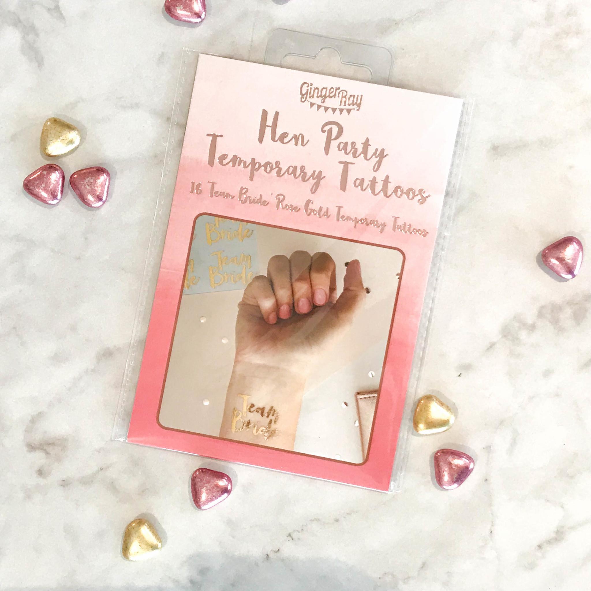 Rose Gouden Temporary Tattoos - Team Bride-1