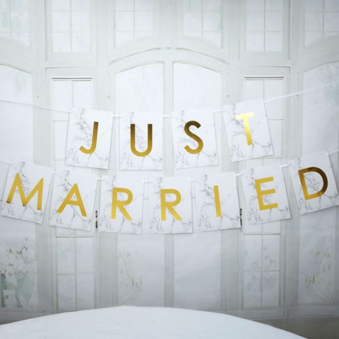 Just Married slinger Neviti Marmer Goud-1