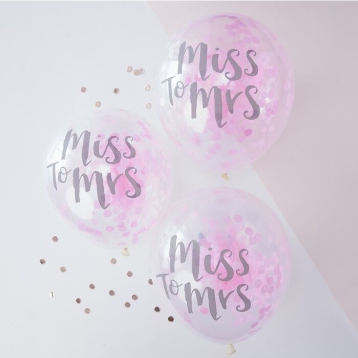 Confetti ballonnen Miss to Mrs 5 stuks-1