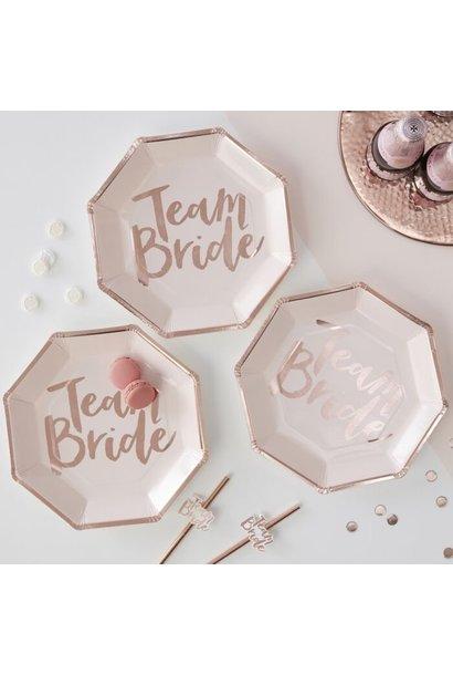 Team bride papieren bordjes rosé