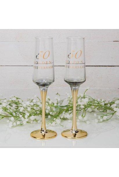 Gouden huwelijk champagne glazen