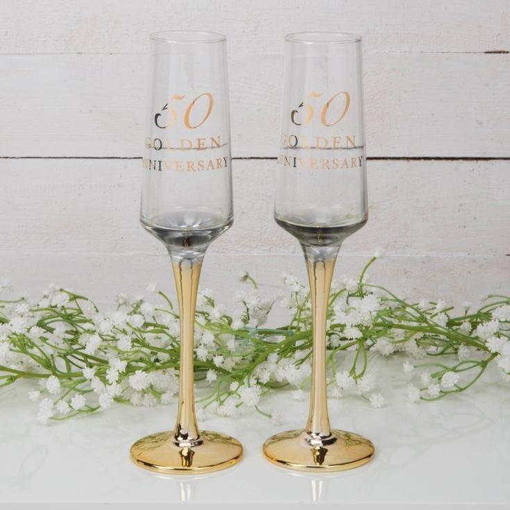Gouden huwelijk champagne glazen-1