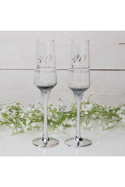 Robijnen huwelijk champagne glazen