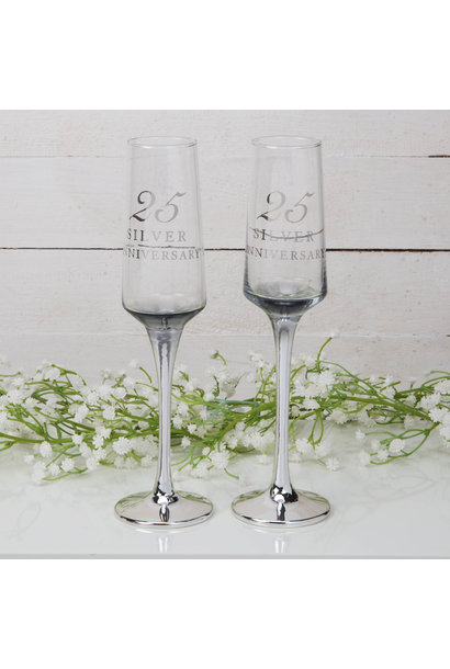 Zilveren huwelijk champagne glazen