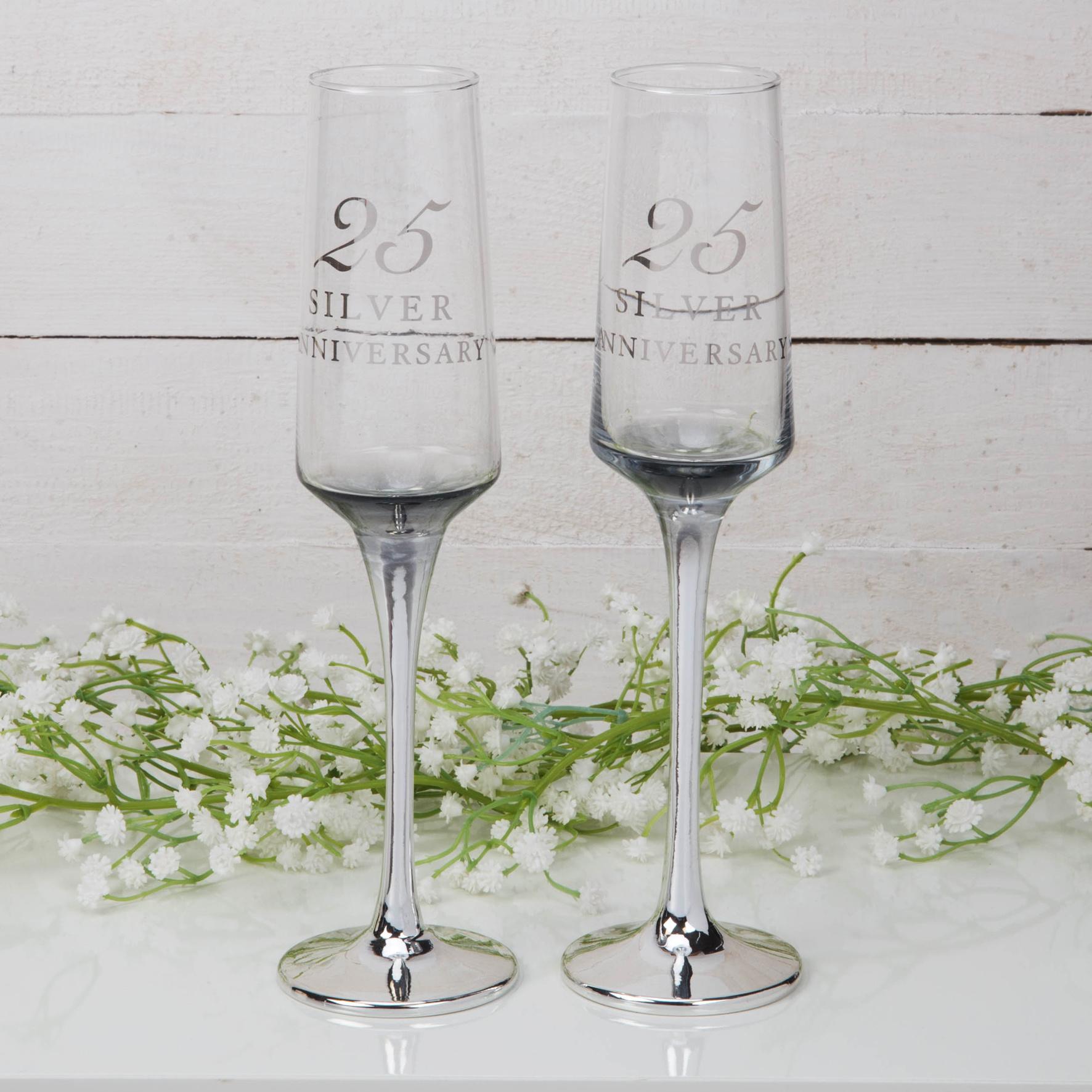 Zilveren huwelijk champagne glazen-1