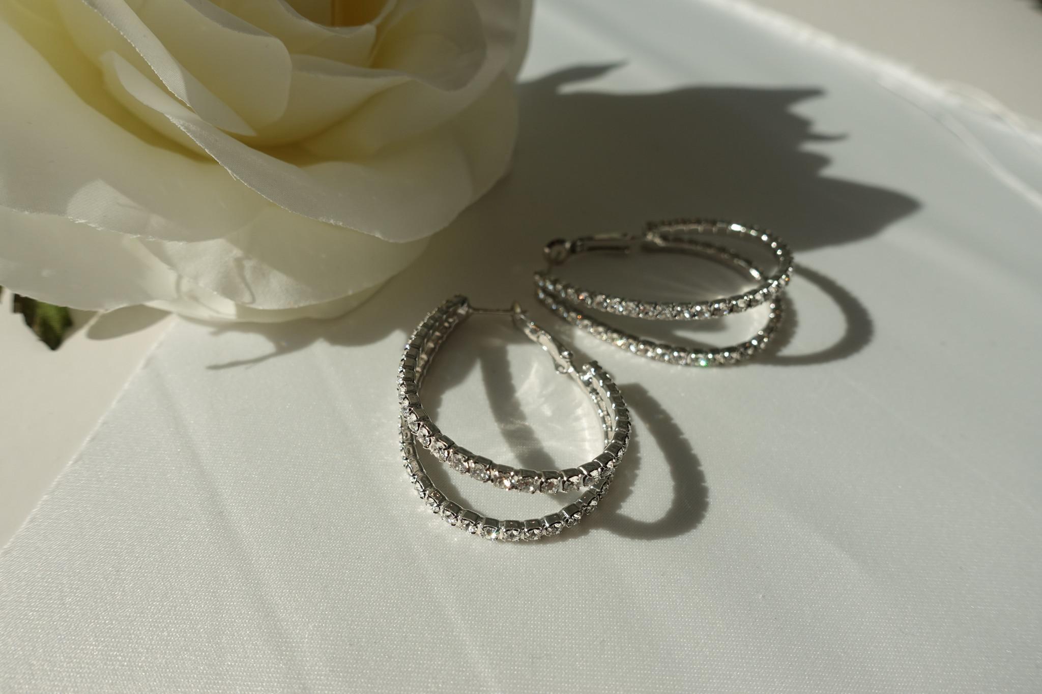 Zilveren diamanten oorbellen-1