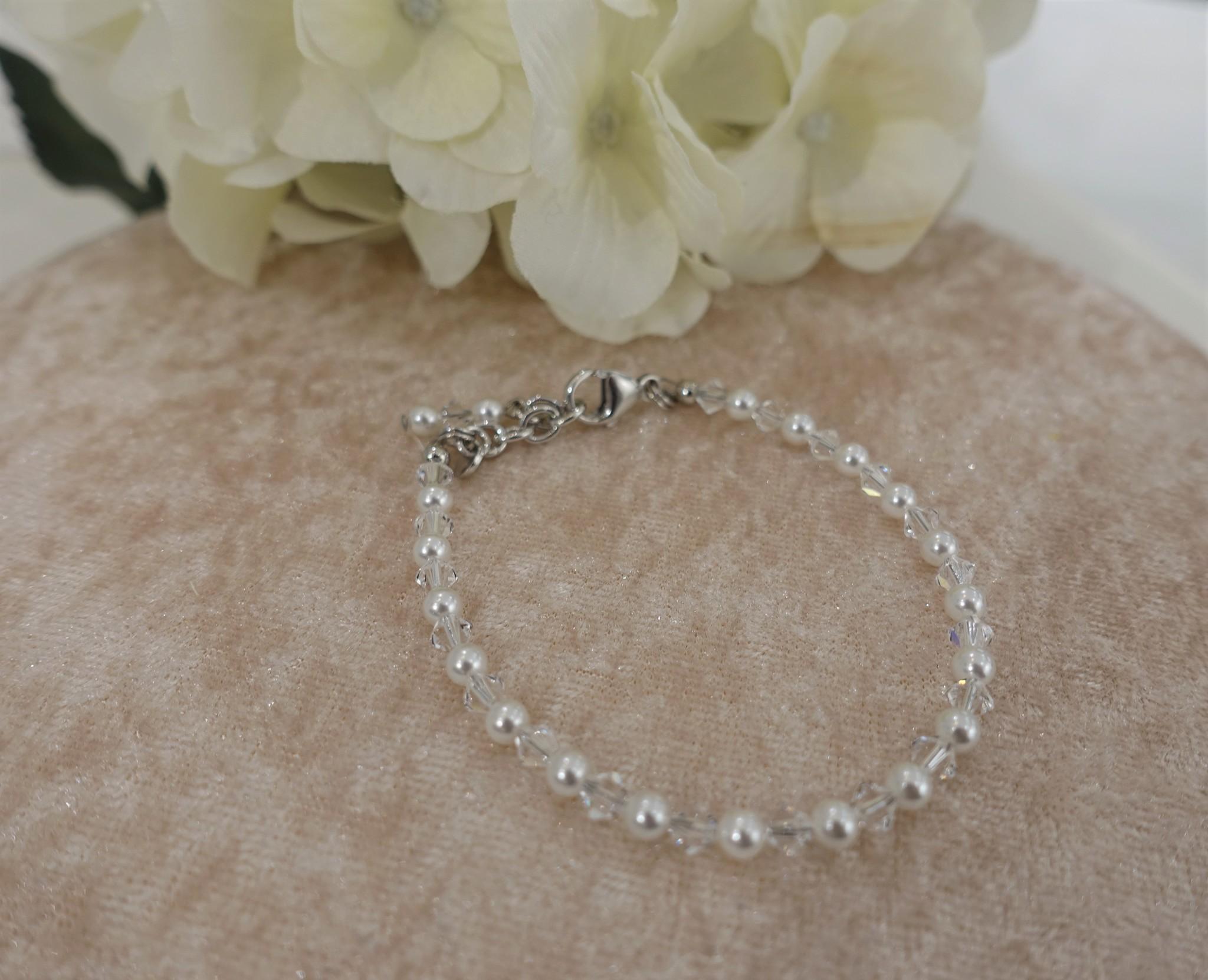Crystal met parel armband-1