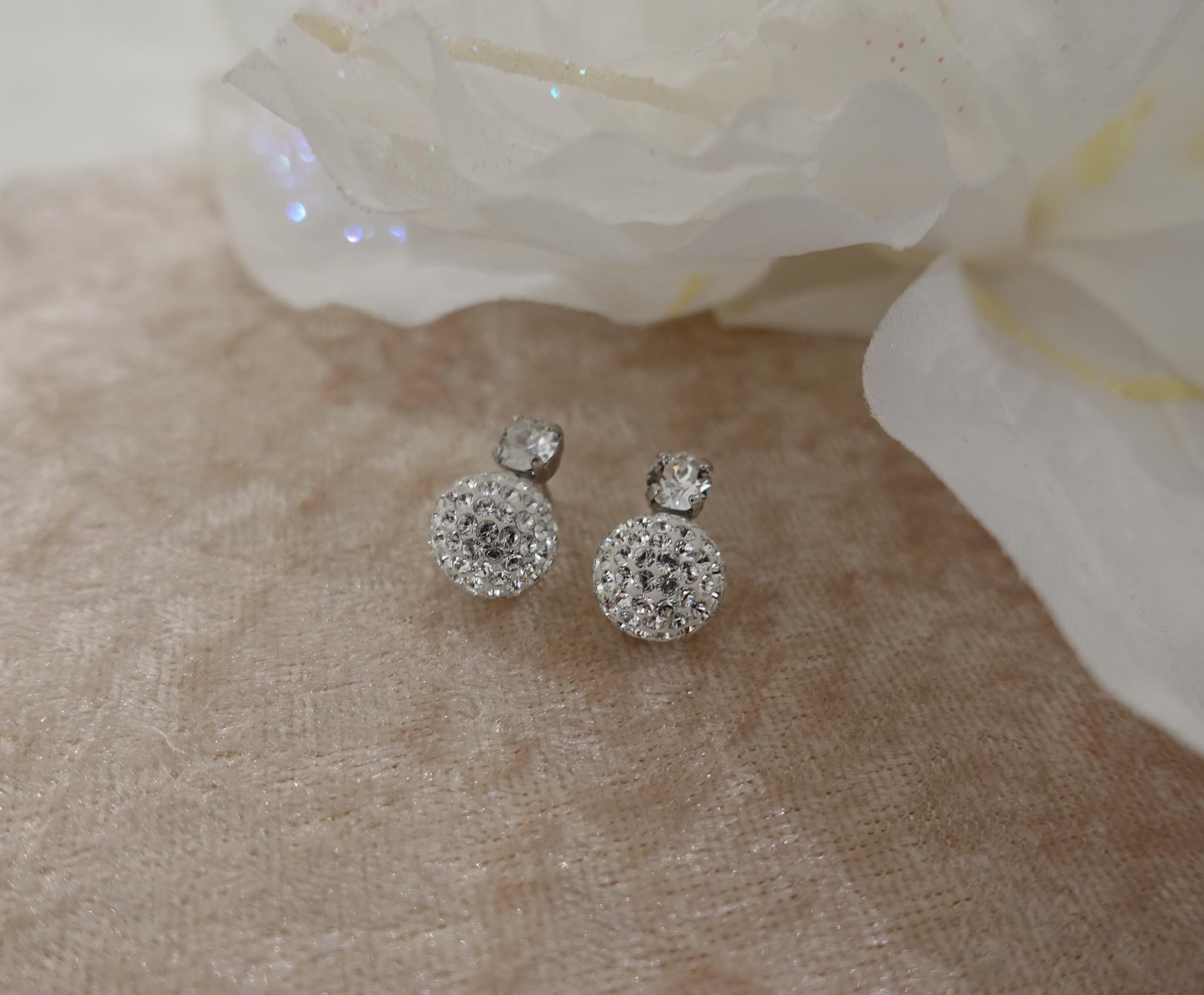 Knopje met diamant en bolletje, 10mm-1