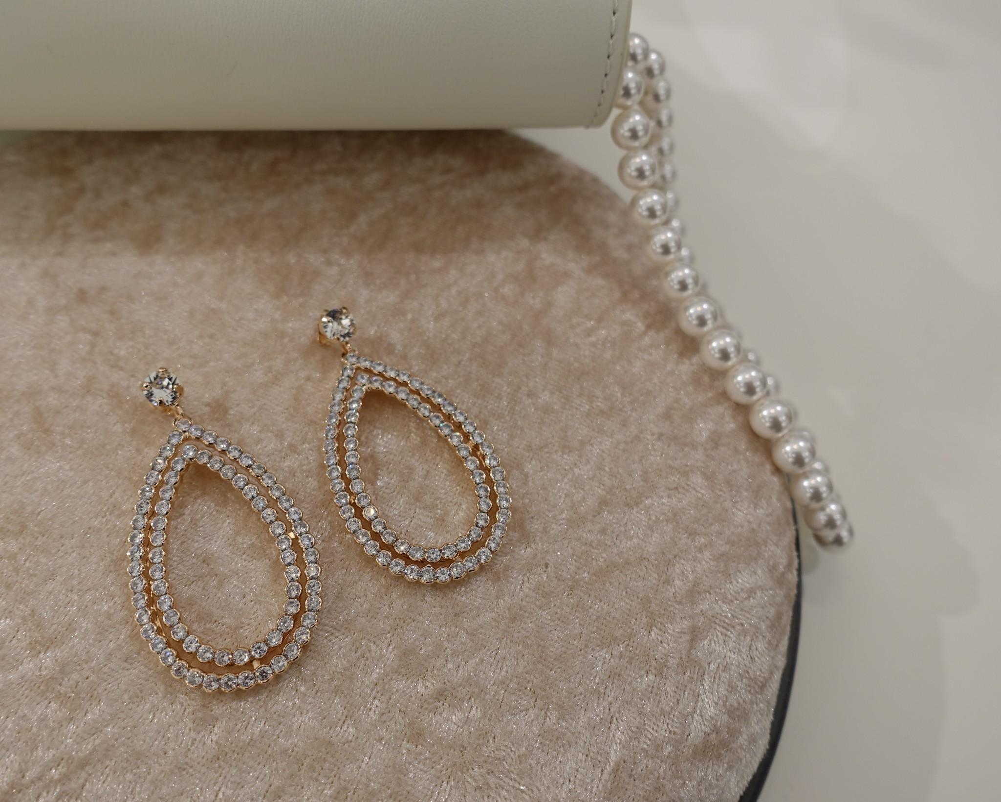 Rose hangers in druppel vorm met diamantjes-1