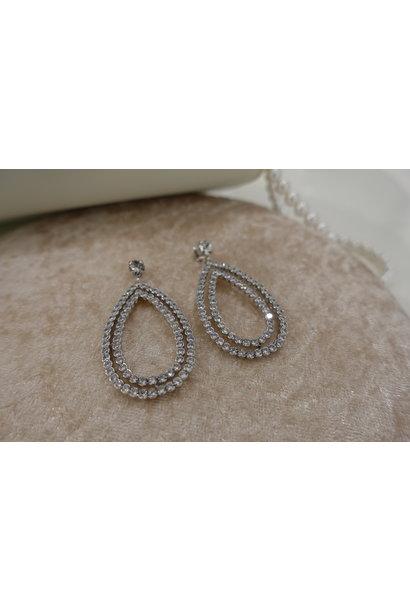 Zilver hanger druppel diamant