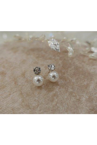 Diamant knopje met parel