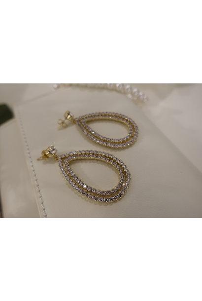 Goud hanger druppel diamant
