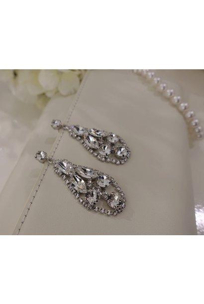 Zilveren hangers diamant ovaal