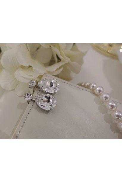 Zilveren diamanten knop