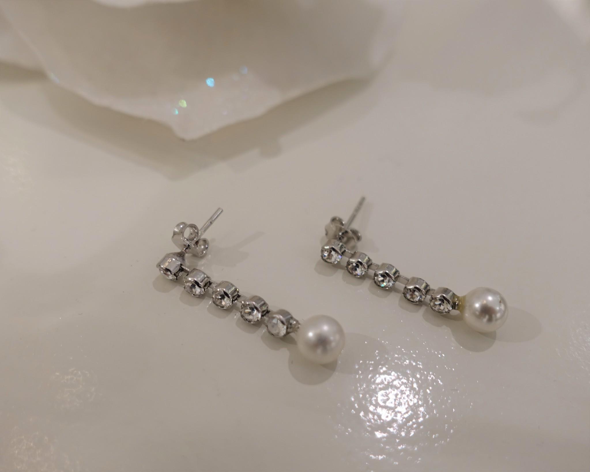 Staafjes met diamant en parel-1